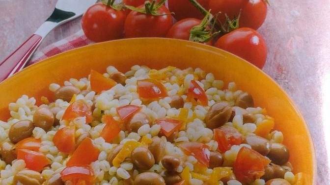 Orzo con borlotti e pomodori