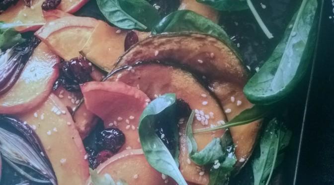 Insalata di zucca arrostita con spinacini e rucola