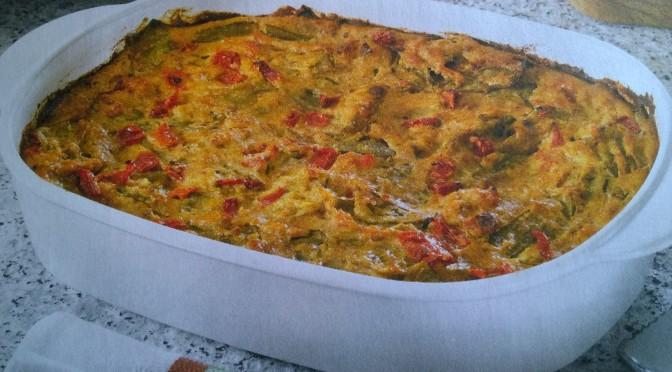 Sformato di taccole, patate e pomodoro