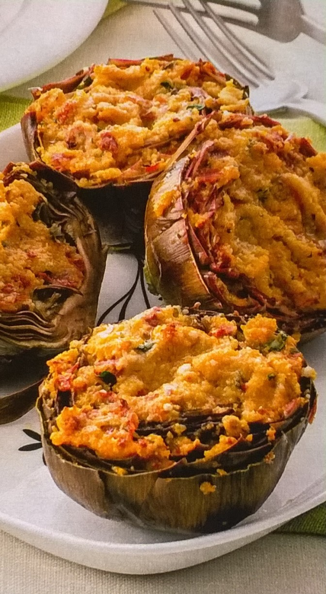 Carciofi al forno con ripieno mediterraneo