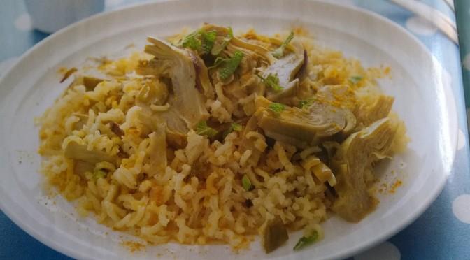 Riso basmati pilaff al curry e carciofi