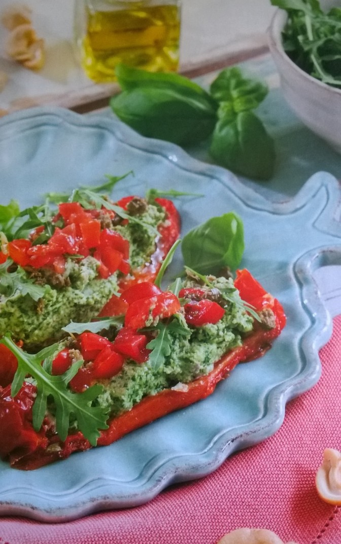 Peperoni ripieni al basilico e pomodorini marinati